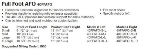 Full Foot AFO, Large Left