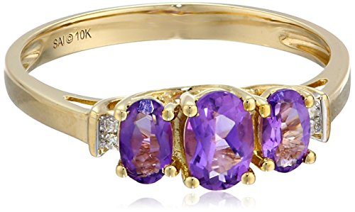 10k Yellow Gold February Birthstone 3-Stone Amethyst with Diamond-Accent Ring, Size 6