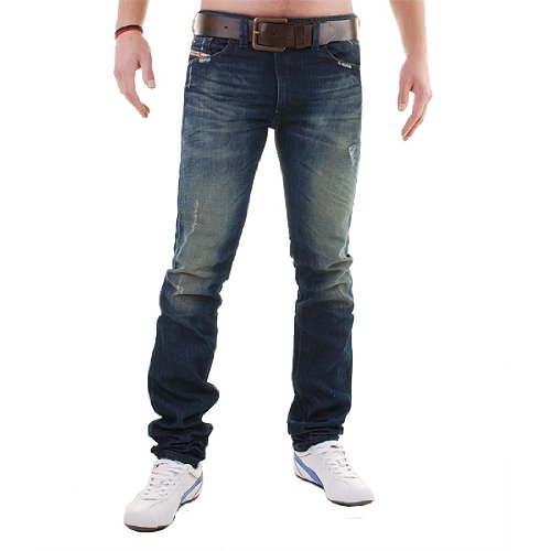 Brand New Diesel Thavar 884S Mens Jeans, 0884S, Dirty New Age, Slim Fit Tapered Leg (32 x 32)
