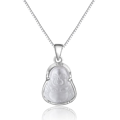 Rhodium Plated 925 Sterling Silver Cats Eye Stone Mini Buddha Pendant Necklace 18