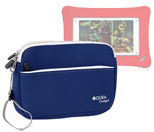 DURAGADGET Blue Water Resistant Neoprene Zip Carry Case With Front Pocket For The New Fuhu Nabi DreamTab HD8, Fuhu DreamTab HD8, Fuhu Nabi & Nabi 2 Kid's Tablet