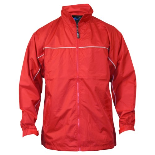 Apparel No. 5 Mens Lightweight Single Piping Windbreaker Jacket,Large,Red / White