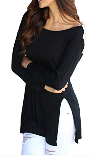IF FEEL Womens Sexy Casual Solid Crochet Lace Long Sleeve T Shirt Top Blouse-Black L