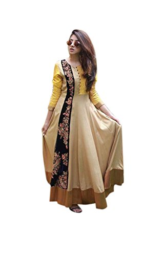 Women\'s Designer Cotton Yellow Color Anarkali Dress Material