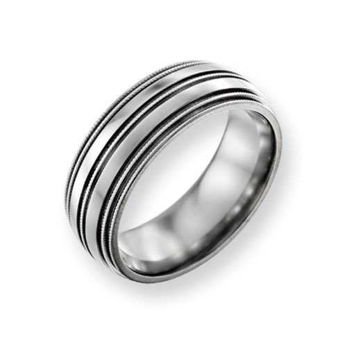 Titanium Grooved and Beaded 8mm Polished Comfort Fit Wedding Band Ring (SIZE 6 )