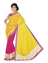 De Marca Rani Pink And Yellow Art Silk Designer G-344 Saree