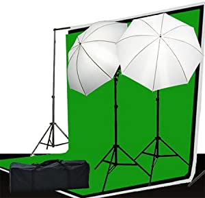 Fancierstudio LS69BWG Photo Video Lighting Kit 3 Muslin Backdrop Background Stand And Lighting Kit