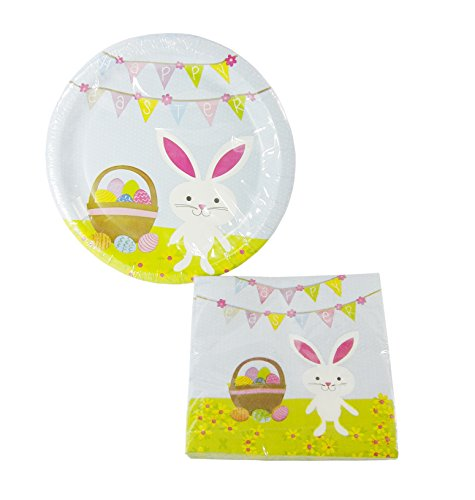 Happy Easter 8.75in. Round Dinner Plates & 13in. Napkins Set - 36 Pieces