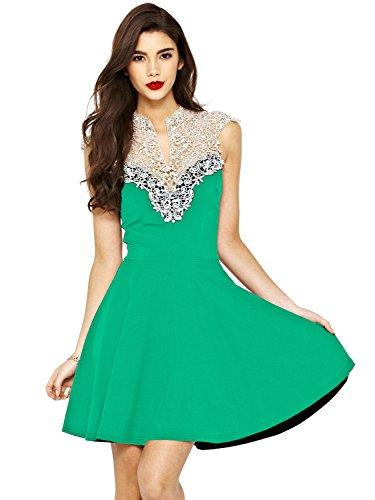 PAKULA Women's Lace V Neck Sleeveless Sexy Party Dress,Green,Small