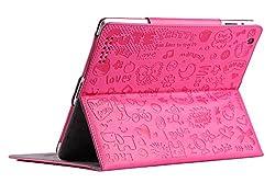 KolorFish iLove Cartoon Designer Leather Stand Flip Case Cover for Apple iPad Air 2 (Hot Pink)