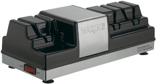Waring Commercial Wks800 Commercial 3-Station Knife Sharpener With 2 Grinding And 1 Stropping Wheel