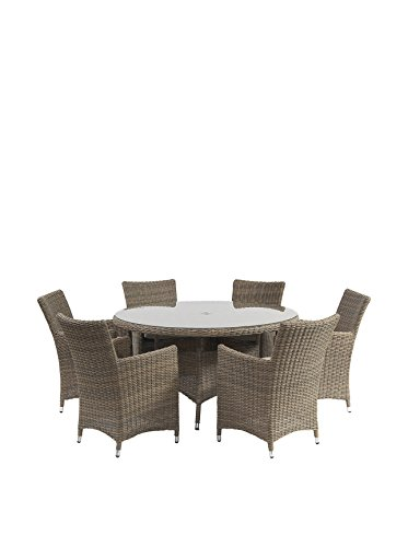 Suntime 7-Piece Causeway Rattan Dining Collection Natural Semi Round, Natural