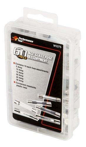 performance tool w5375 60pc agc glass fuse assortment