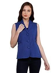 Oxolloxo Women Blue Sleeveless Blazer