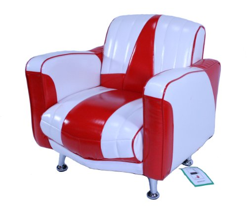 Mini Cadillac S PVC Chair (White and Red/Red Piping)