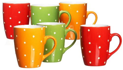 ritzenhoff und breker 7369677 set di 6 tazze a pois colore rosso verde arancione. Black Bedroom Furniture Sets. Home Design Ideas