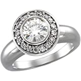 Women's Gorgeous! 14k White-gold (1 CT) 6.5mm Moissanite (1/4 CT TW Diamond) Engagement Ring
