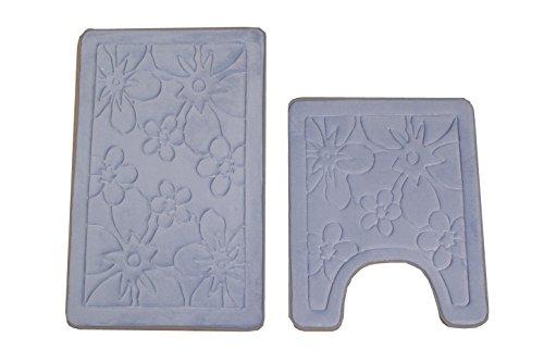 Bednlinens 2 Piece Set Light Blue Non Slip Memory Foam Bath Mat Home Garden Bathroom Accessories