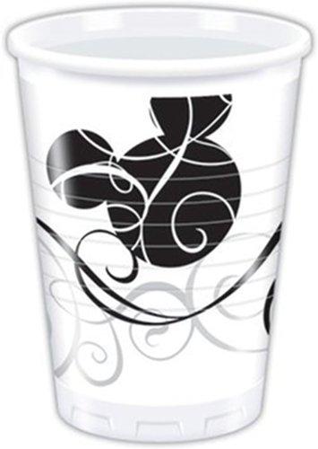 Mickey Mouse Party, decorazioni & Mickey Mouse-Bicchieri di plastica, colore: nero, confezione da 25, colore: Bianco