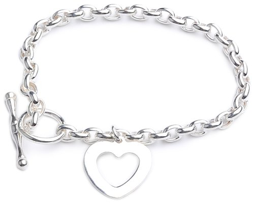 Silver Oval Belcher Bracelet of Length 19 cm with T Bar