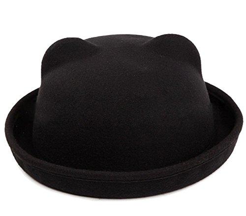 Butterme Donne della signora Girls Vintage orecchie simpatico gatto Trendy Bowler Derby Cap Hat (Nero)