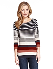 M&S Collection Engineered Striped Top with StayNEW™
