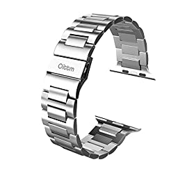 Apple Watch Band, Oittm 42mm Stainless Steel Metal Replacement Strap Classic Polishing iWatch Wrist Band Link Bracelet with Double Button Folding Clasp for Apple Watch (Silver 42mm)