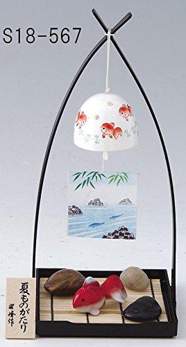 ミニチュア 和室 おしゃれ 涼しげな 置物とインテリア 涼風おくりもの 金魚風鈴セット pottery and porcelain