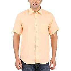 Gm Men's Formal Shirt (GM6003_Orange_40)