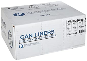 Inteplast Group Valu-Plus HDPE Waste Can Liner, Star Seal