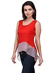 Bumpkin Womens Crepe Top & Tees (B1017_Red_M. _Red, White, Blue _Medium)