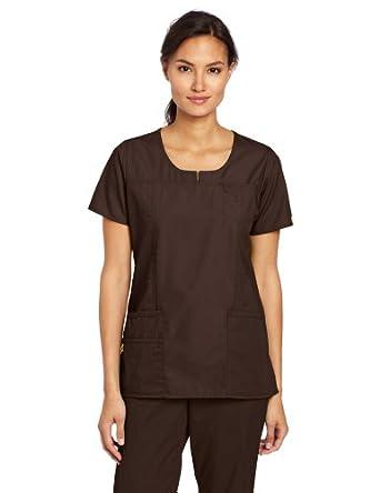 WonderWink Women's Scrubs Round Neck Chest Pocket Top, Chocolate, X-Small