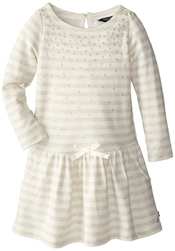Nautica Little Girls' Long Sleeve Stripe Knit Dress With Sequin Neck Line Detail, Natural, 2T