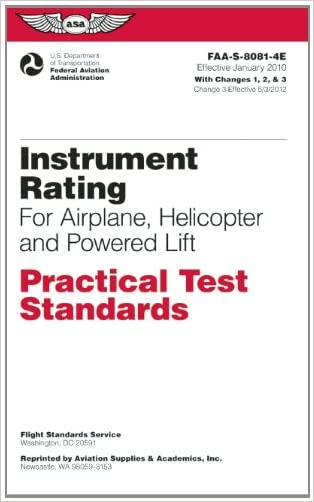 Instrument Rating Practical Test Standards for Airplane, Helicopter and Powered Lift: FAA-S-8081-4E (Practical Test Standards series)