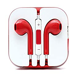 KARP Fancy Earpods for Apple iOS Compatible Devices With Mic - Red Color