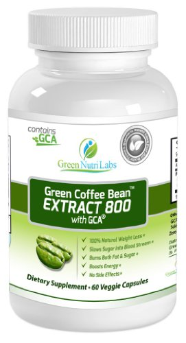 Pure Green Coffee Bean Extract 800mg with GCA® - Double Strength (50% Chlorogenic Acid & Antioxidants) - Thirty (30) Days Supply - Premium Fat Burner and 100 % Natural Weight loss Supplement