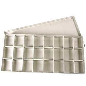 Aqurell-Leerkasten / Aquarellkasten aus weißem Kunststoff mit 24 Fächern - ideal zum aufbewahren von Aquarellfarben etc.