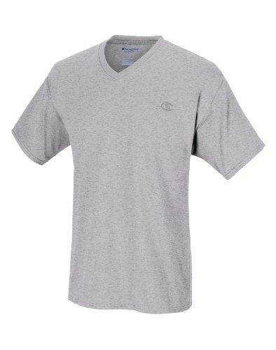 Champion Men's Jersey V-neck T-Shirt, Oxford Grey, X-Large