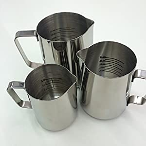 Stainless Steel Frothing Pitcher with Graduated Interior Markings by National Etching