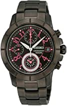 Seiko Chronograph Black Dial Black Ion-plated Ladies Watch SNDY83
