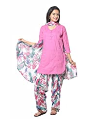Pink Solid Cotton Salwar Suit