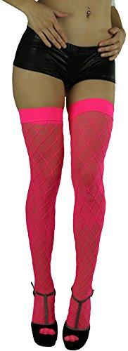 ToBeInStyle Women's Spandex Diamond Net Thigh Hi With Sheer Underlining - HpkPnk (Pink Spandex Sheer Stockings)