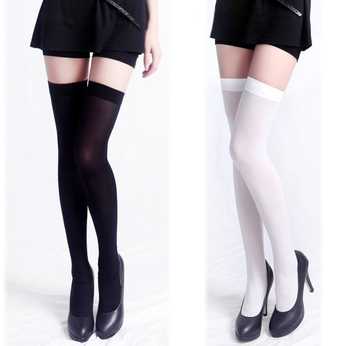 HDE Women's Solid Opaque Thigh-High Stockings Socks