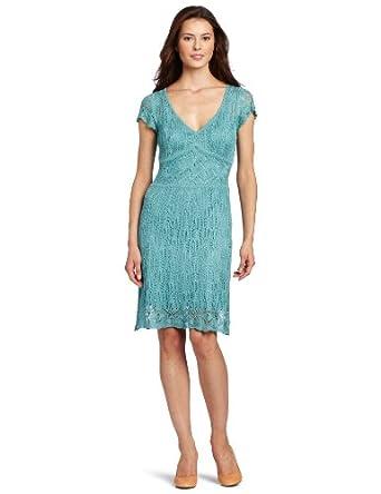 Julian Taylor Women's Short Sleeve Crochet Lace Set Dress, Mint, Small