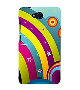 Rainbow Design Pattern 3D Hard Polycarbonate Designer Back Case Cover for Micromax Bolt Q335