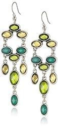 """Lucky Brand """"Mar14 Garden Glam Caseline"""" Multi-Green Stone Drop Earrings"""