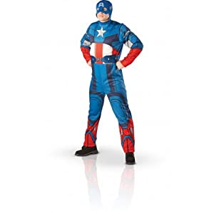 Captain America Fancy Dress Costume with Snood - Extra Large size from Rubies