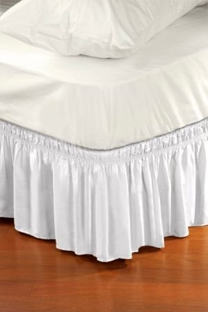 Big Save! Wrap Around Style Easy Fit Elastic Bed Ruffles for King and Queen Size Beds