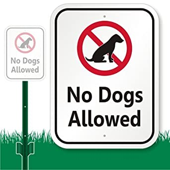 "SmartSign Aluminum Sign, Legend ""No Dogs Allowed"" with Graphic, 12"" high x 9"" wide sign plus 3' tall stake, Black/Red on White"