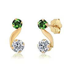buy 0.80 Ct Round G/H Diamond Green Sapphire 14K Yellow Gold Earrings